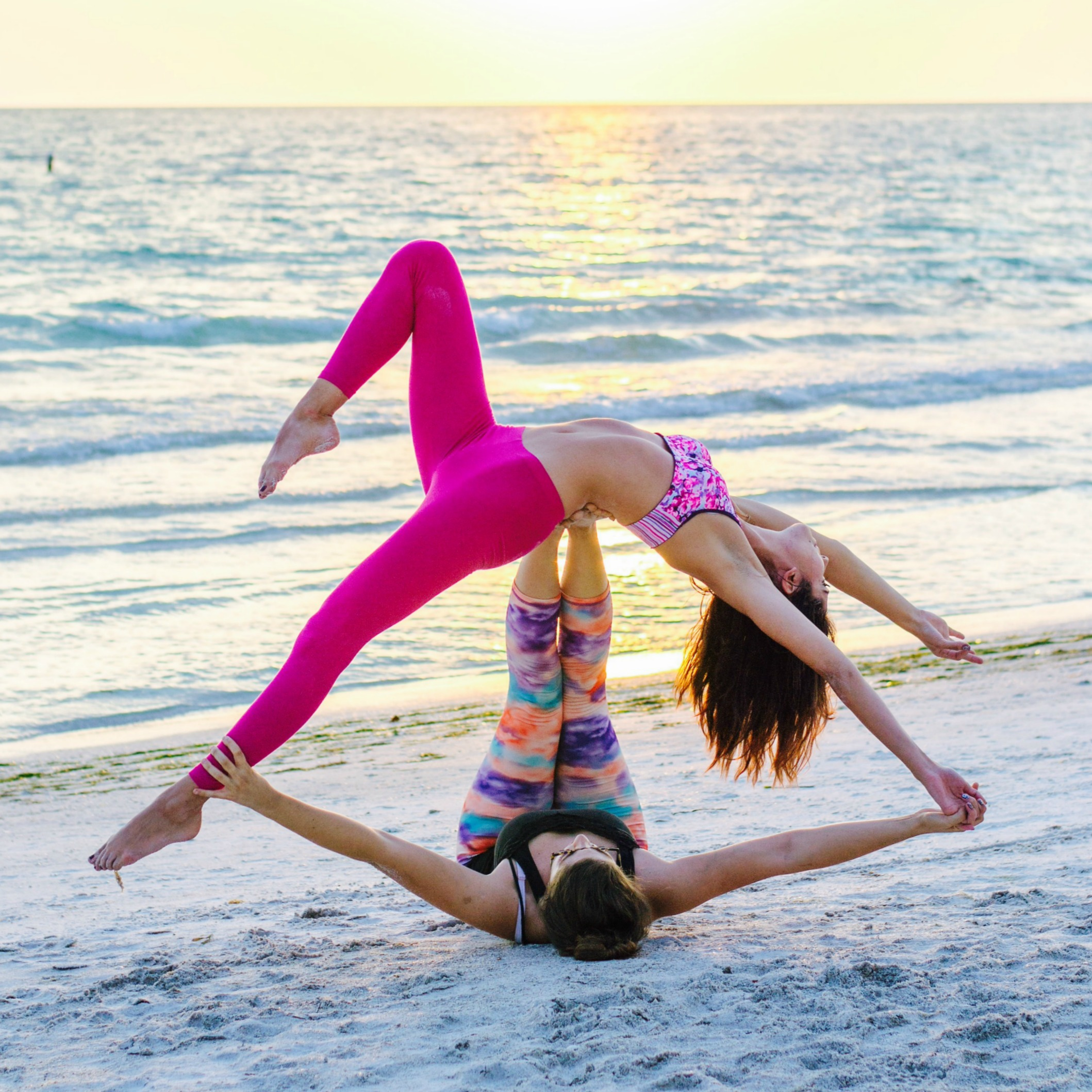 Partner Yoga On Beach Headstands And Heels
