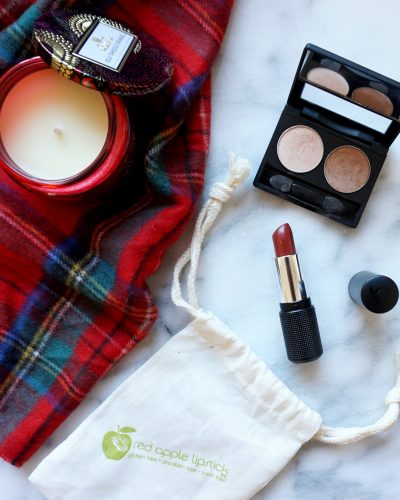 Cozy Fall Makeup with Red Apple Lipstick